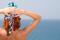 Woman on the beach. Woman looking at the sea Royalty Free Stock Images