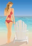 Woman at the beach. Sexy pretty woman in bikini at the beach Stock Image