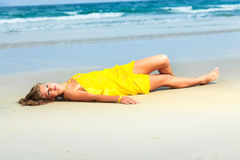 Woman on the beach Stock Images