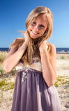 Woman  on a beach. Stock Images
