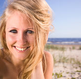 Woman  on a beach. Royalty Free Stock Photos