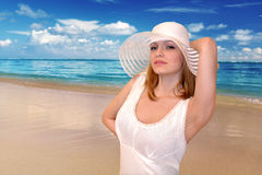 Woman on beach Stock Photo