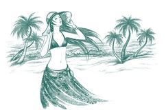 Woman on the beach. Handdrawn illustration of young woman on the tropic sea beach Royalty Free Stock Photo