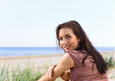 Woman on a beach. Royalty Free Stock Image