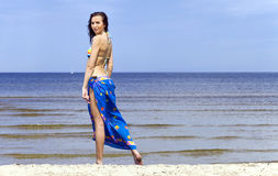 Woman on a beach. Royalty Free Stock Images