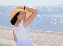Woman at beach Stock Photography