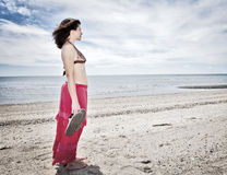 Woman at beach Stock Image
