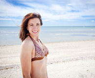 Woman at beach royalty free stock image