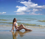 Woman on the Beach. Royalty Free Stock Photo