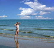 Woman on the Beach. Royalty Free Stock Images