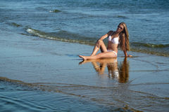 Woman on the Beach. Royalty Free Stock Photos