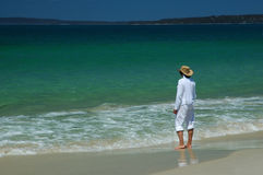 Woman on the beach. Woman on the Callala beach, Jervis bay, Australia. One of the famous seaside resorts in Australia royalty free stock photography