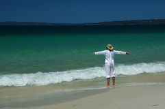 Woman on the beach. Woman on the Callala beach, Jervis bay, Australia. One of the famous seaside resorts in Australia stock photography