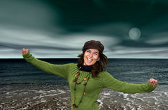 Woman in the beach. At night royalty free stock photography