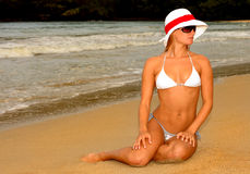 Woman on Beach. Beautiful Image of a Model On the beach Stock Photo