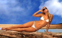 Woman on the beach. Beautiful Image of a Blond Woman In Bikini On the beach Royalty Free Stock Image