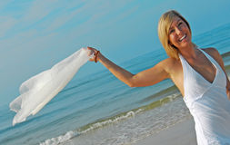 Woman on beach Royalty Free Stock Photos