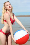 Woman with a Beach Ball Royalty Free Stock Photos