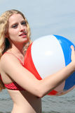 Woman with a Beach Ball Royalty Free Stock Images