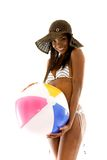 Woman with a beach ball Stock Images