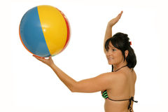 Woman with beach ball Royalty Free Stock Photography