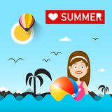 Woman with Beach Ball on Sea. Love Summer Vector Illustration with Ocean Waves Stock Illustration