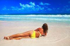 Woman on the beach Royalty Free Stock Image