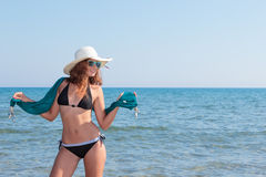 Woman on the beach Stock Photography
