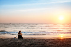 Woman on the beach. Royalty Free Stock Photography