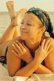 Woman on beach. Caucasian brunette woman on beach in vacation Stock Photos