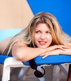 Woman On Beach Chair Royalty Free Stock Photos