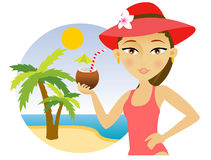 Woman on the beach with a cocktail Vector Illustration