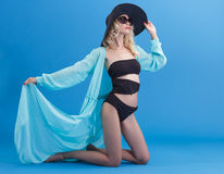 Woman in beach costume Royalty Free Stock Image