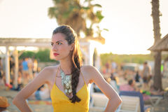 Woman on the beach. In dress Royalty Free Stock Images