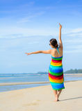 Woman at the beach enjoying her vacations in paradise Royalty Free Stock Photography