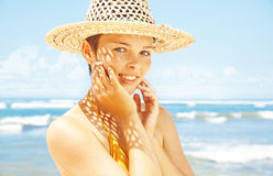 Woman on a beach Stock Image