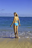 Woman at the beach in hawaii Stock Photography