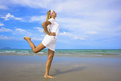 Woman on the beach. Healthy lifestyle royalty free stock photos