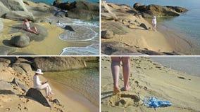 Woman on the beach stock video