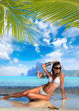Woman on the beach on Ko Phi Phi island Royalty Free Stock Photo