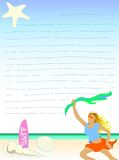 Woman on beach letter paper Stock Image