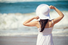 Woman beach looking the sea Royalty Free Stock Images