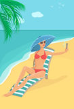 Woman on the Beach Making Selfie. Vector illustration of attractive woman on the beach making selfie against sea and palm tree background Stock Photo