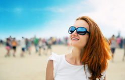 Woman at a beach party Royalty Free Stock Photos