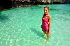 Woman on beach, Phi Phi Islands, Thailand stock photo