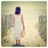 Woman at beach Stock Photos