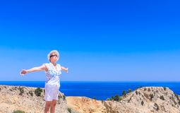 Woman on the beach. Rhodes Island Stock Images
