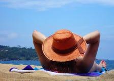 WOMAN IN THE BEACH SAND Stock Photos