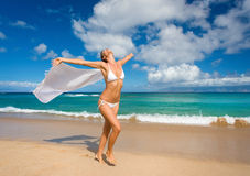 woman beach sarong Royalty Free Stock Image