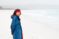 Woman at beach with sea mist royalty free stock photos